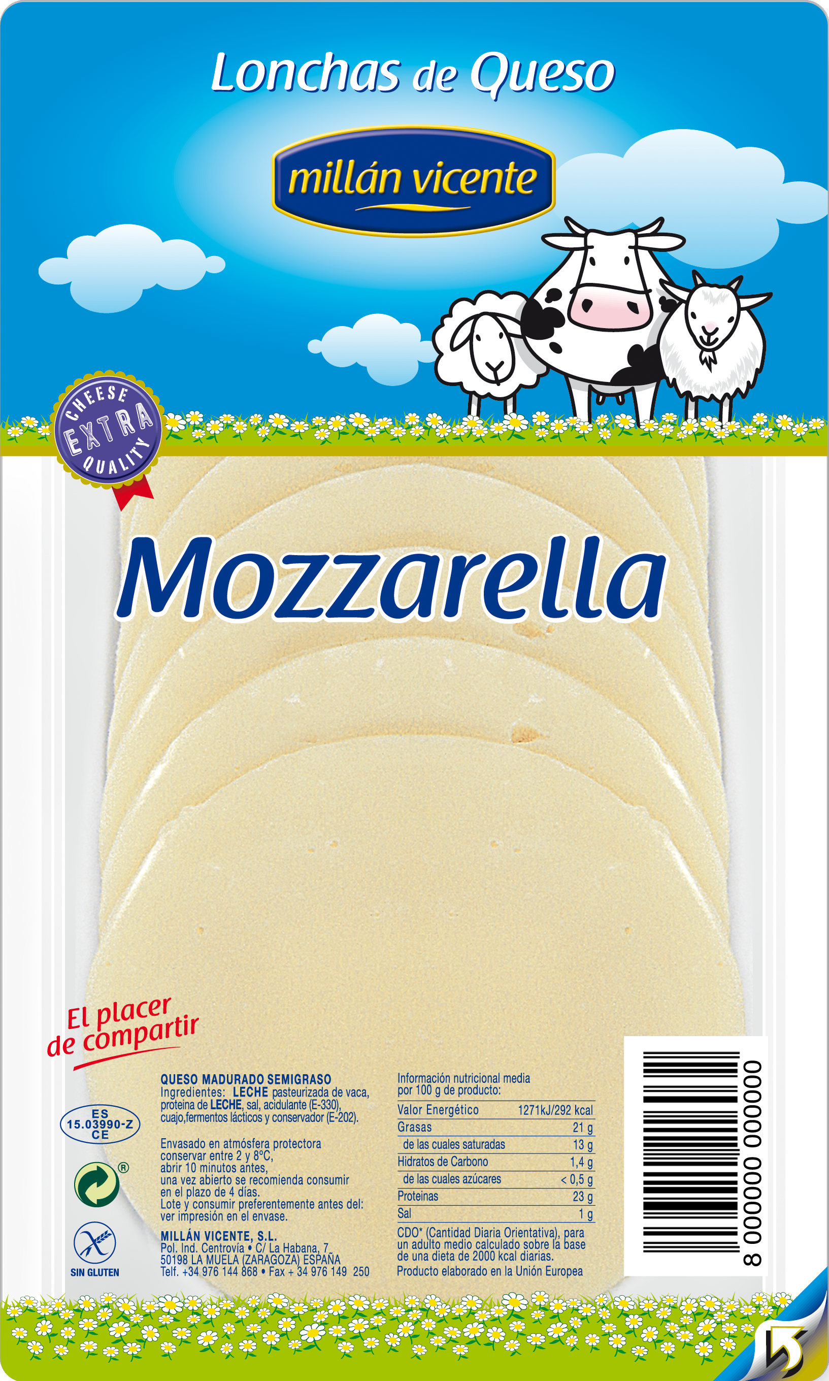 MILLAN VICENTE MOZZARELLA SLICES 90 GR MV 16 UDS